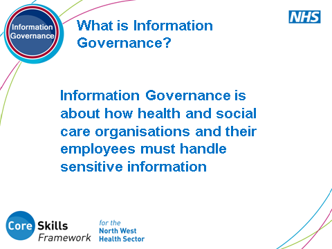 SLIDE 3: What is Information Governance Explain how Information Governance refers to how both employees and organisations handle information.