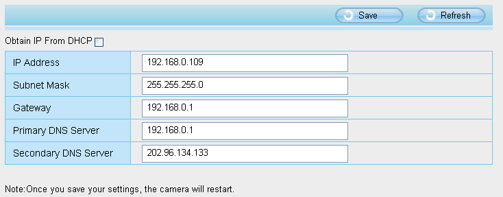 4.3 Network This section will allow you to configure your camera s IP, PPOE, DDNS, Wireless Settings, UPnP, Port, Mail Settings and FTP Settings. 4.3.1 IP Configuration If you want to set a static IP for the camera, please go to IP Configuration page.