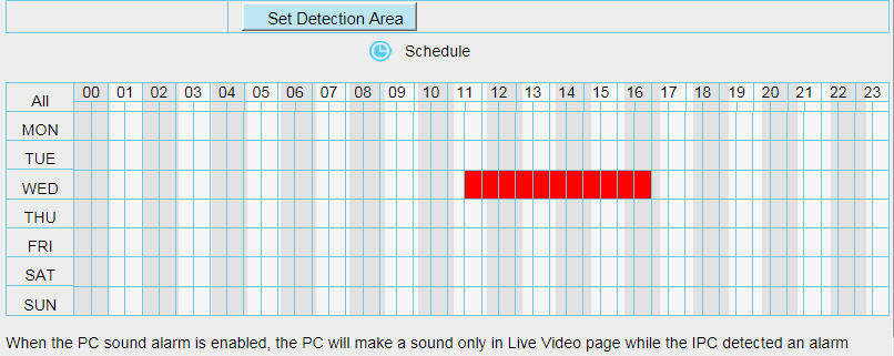 camera will alarm. Figure 4.49 3Press the left mouse and drag it on the time boxes, you can select the serial area, Figure 4.50 7 Click Save button to take effect.