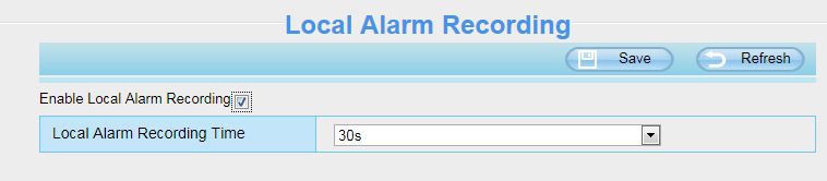 4.6 Record 4.6.1 Storage Location On this page you can change the manually recording storage path, the default storage path is D:\ipc. Figure 4.51 4.6.2 Alarm Record Figure 4.52 4.6.3 Local Alarm Location On this page you can enable local alarm record, and select the local alarm record time.