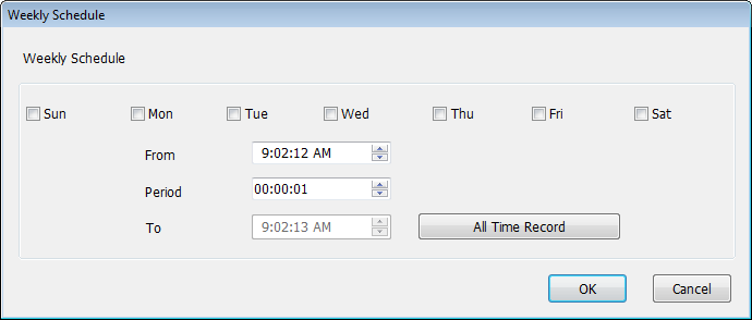 You can define a recording schedule that will be executed at the specified time of certain day(s) in the week. Please check all days that apply, and set the start time in the From field.