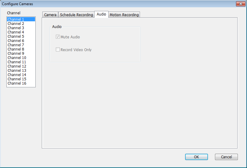 3.4.3.3 Audio For cameras that support audio, you can use this tab to decide if you wish to hear the audio captured by the selected camera.