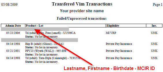 VIM Transactions Report (Provider Transfer Sites) This report is for provider sites that: Upload immunization data to MCIR from an approved Electronic Health Record (EHR), and Are also using the MCIR