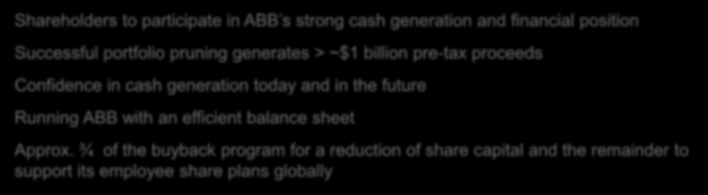 ABB launches $4 billion share buy-back over 24 months Driving attractive shareholder returns Shareholders to participate in ABB s strong cash generation and financial position Successful portfolio