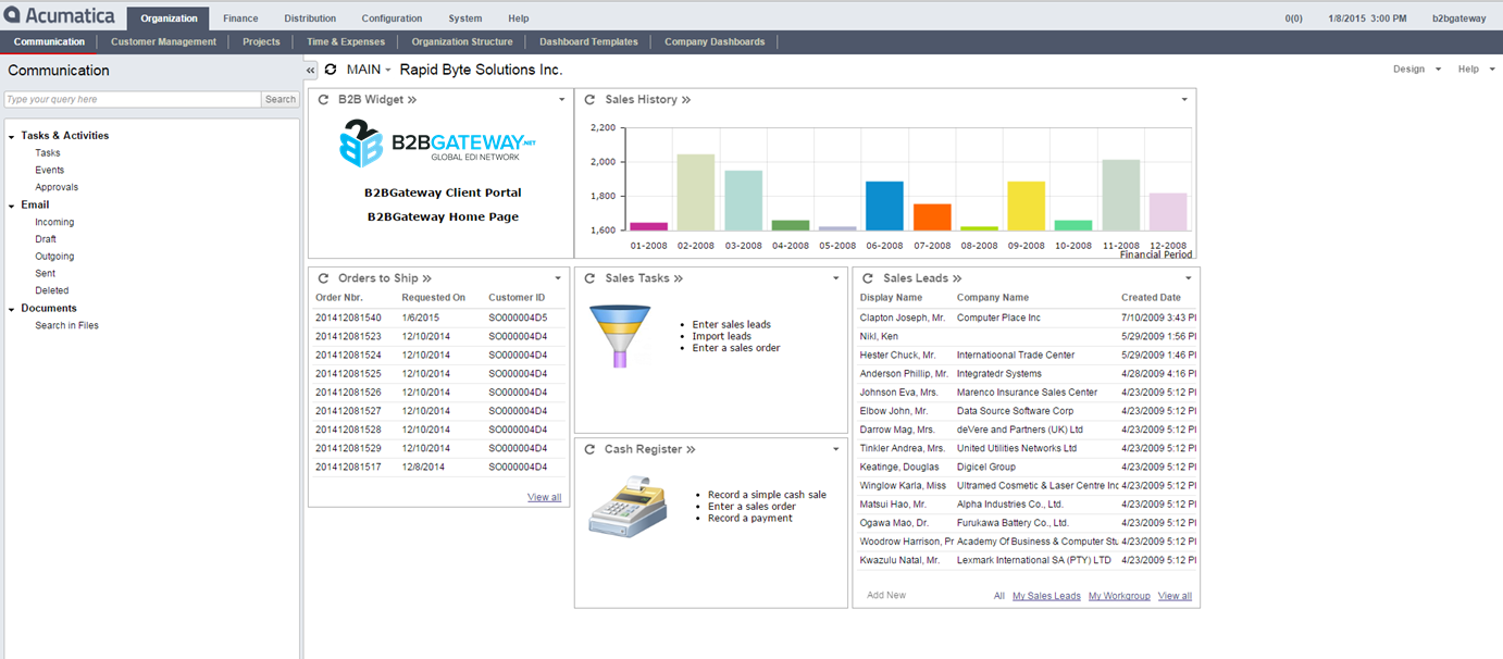 BUILT INTO THE ACUMATICA DASHBOARD When designing our Acumatica integration tool, we