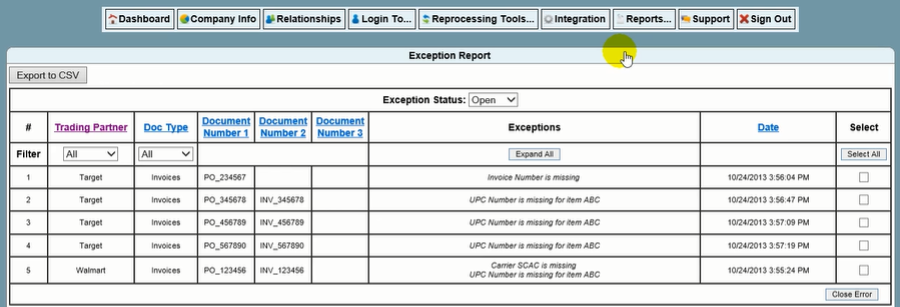 EXCEPTION REPORTS If a client sees an Open Exception in the Transaction Report, they should open up the Exception Reports Section on their Client Portal Here they will see