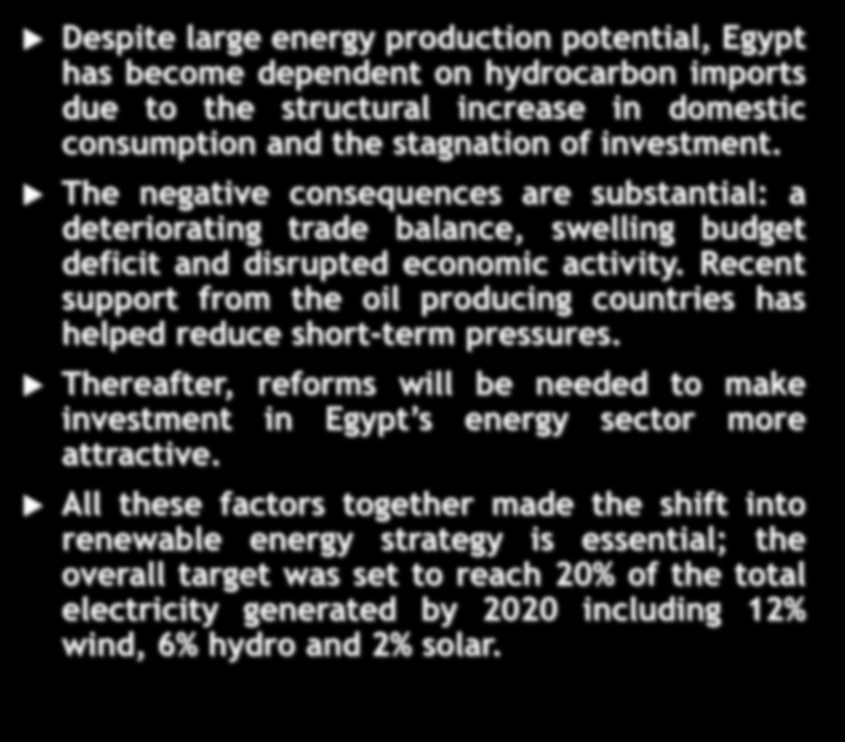 Despite large energy production potential, Egypt has become dependent on hydrocarbon imports due to the structural increase in domestic consumption and the stagnation of investment.