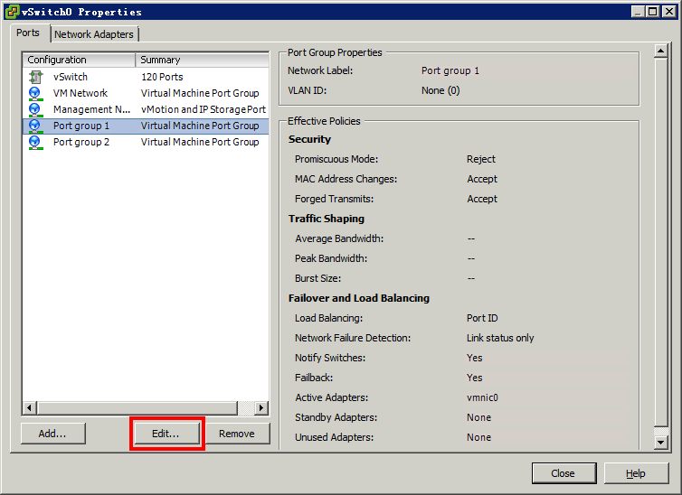 Figure 233 Opening the vswitch Properties dialog box 4. Select the Ports tab, as shown in Figure 234. 5. Select the port group 1 and click Edit. The port group properties dialog box appears.