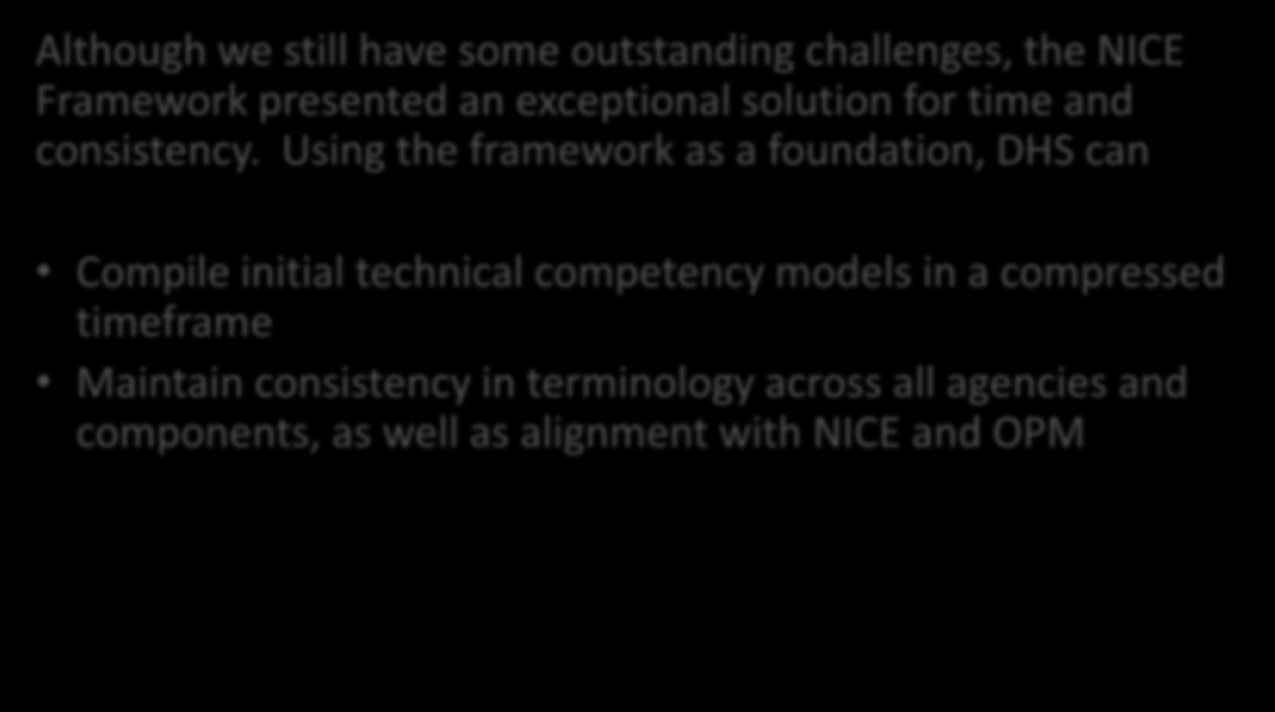 A NICE Solution Although we still have some outstanding challenges, the NICE Framework presented an exceptional solution for time and consistency.