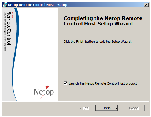 2 Install and configure the Host 2.1 Install the Host On the console session of the terminal server machine, install the Netop Host: 1. Download the Netop Host and run the.exe file. 2. Run the Setup Wizard making the desired settings.
