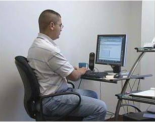 Posture While Sitting When sitting, keep knees at a 90 degree angle and feet flat on the floor.