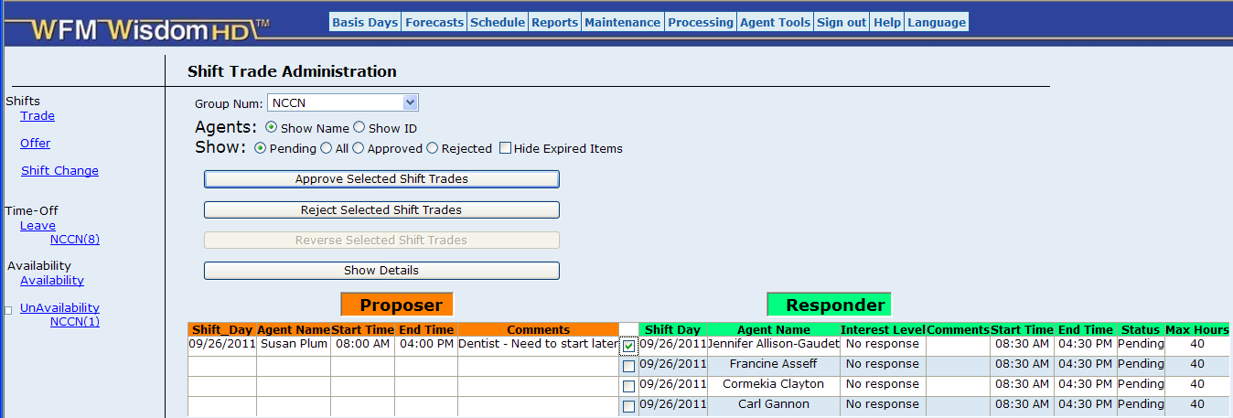 Easy Shift Trading - Supervisors Single Click Approval Automatic Clean-up Skills