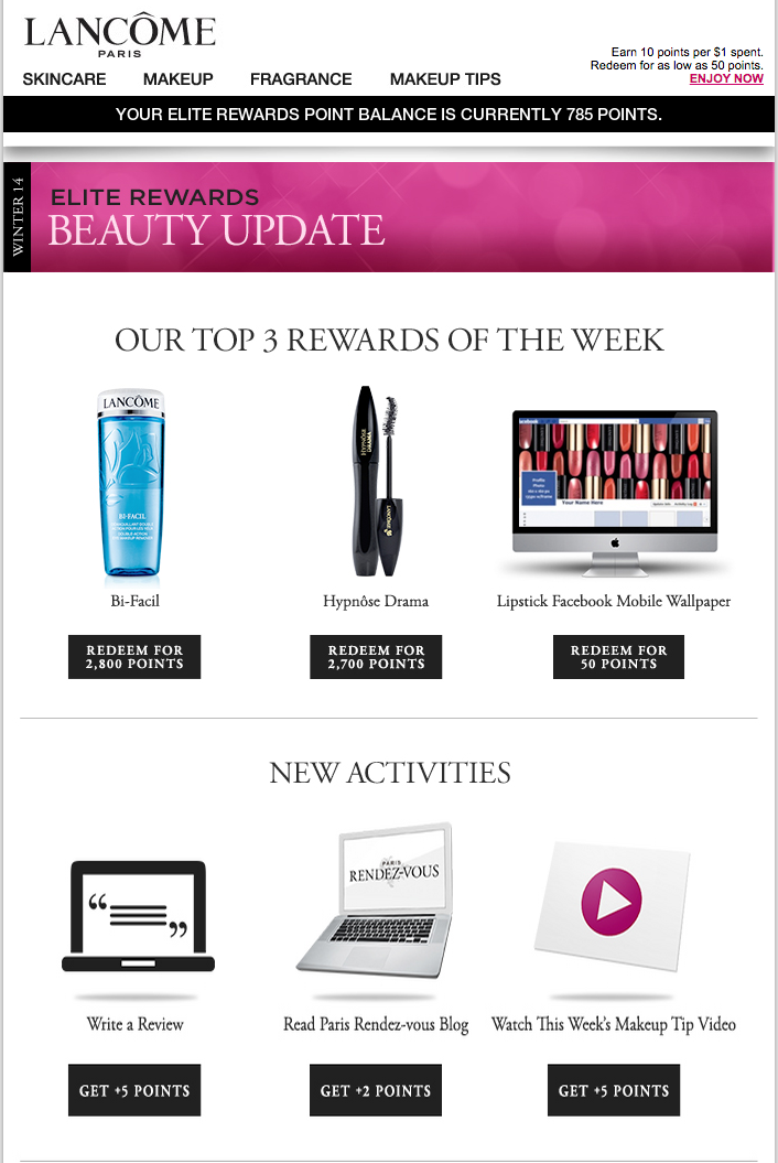 3. Lancome Lancome wanted to display the latest deals in the email, so the brand built an email that showcased the products in real-time.