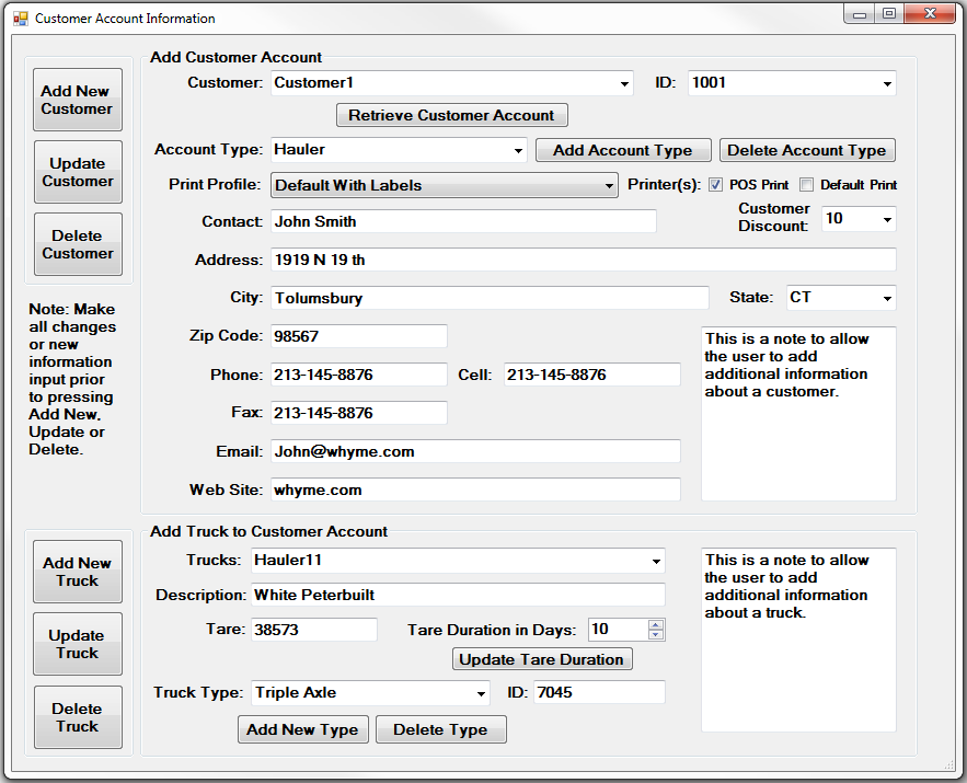 Data-Tracker PLUS Customer Account Information Page Image 8 Explanation of Functionality for Customer Account Information Page General Description: This page allows the user to set up a new account,
