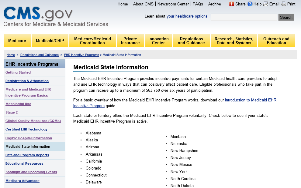 Medicaid State Information http://www.cms.