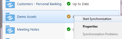 4. Synchronize the following folders: Customers Personal Banking Demo Assets Meeting Notes Project
