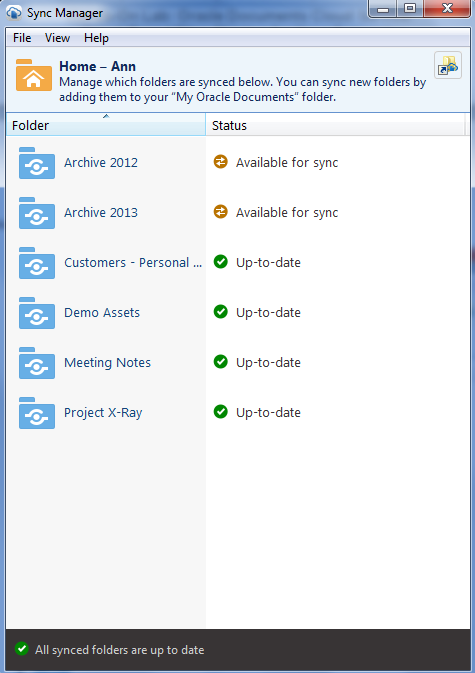 After you sync all four folders, your Sync Manager should look like this: You can see that Ann has used the cloud as archive storage, and that content from 2012 and 2013 is stored in the cloud,