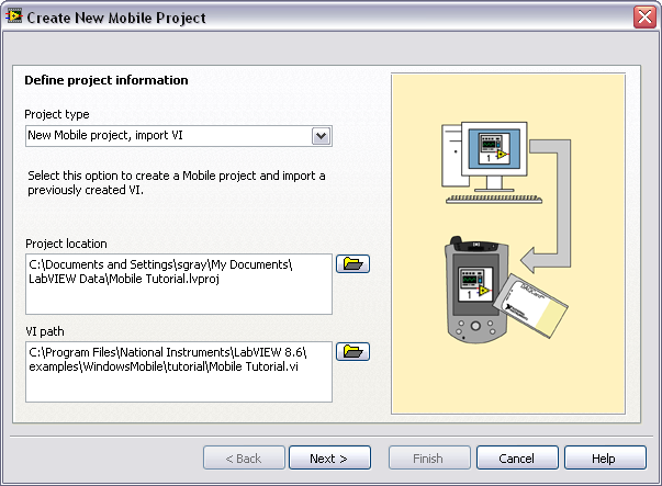 2. Define the project information as shown in Figure 1. a. Select New Mobile project, import VI from the Project type pull-down menu to create the LabVIEW project using an existing VI.
