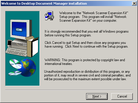 Desktop Document Manager CD Installation To install Desktop Document Manager from a CD: 1. If any Windows applications are open, close them to ensure that the software installs properly.