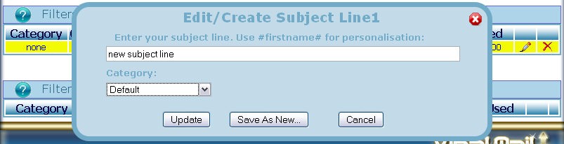 Here you will enter your subject line. If you have set up Categories then you can choose a category from the dropdown menu, otherwise your Subject will have the Default category.