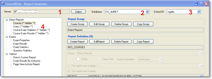 CourseWebs Reporting Tool Desktop Application Instructions The CourseWebs Reporting tool is a desktop application that lets a system administrator modify existing reports and create new ones.
