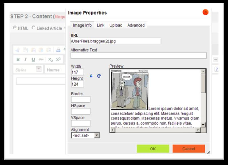 Preview image in image window. Adjust Width which auto-adjusts Height. Click OK.