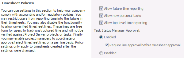 160 Project Server 2010 Administrator's Guide 11. In the Auditing section, select the Enable Timesheet Auditing check box to create a detailed record of all changes made to a timesheet.