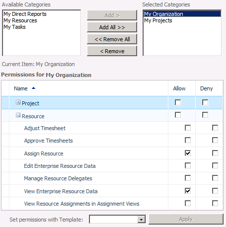 24 Project Server 2010 Administrator's Guide Categories options To associate a category with this group, select the category in the Available Categories list, and then click Add.
