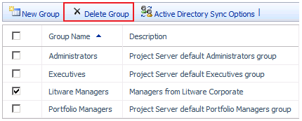 26 Project Server 2010 Administrator's Guide Delete a security group If you no longer need a security group in Microsoft Project Server 2010, you can delete it.