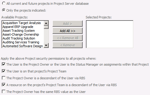 Security 35 Category / project association You can explicitly select projects that users with permissions in this category can view, or you can use one of the dynamic security options to have
