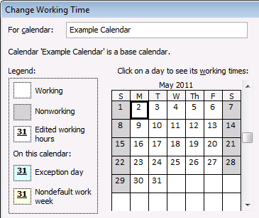 84 Project Server 2010 Administrator's Guide Modify Working and Nonworking Times When working with calendars in Project Professional 2010, there are a few different things you can do to accurately