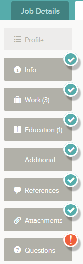 As you work on your application, refer to the progress bar to see the number of items for each entry, and any errors.