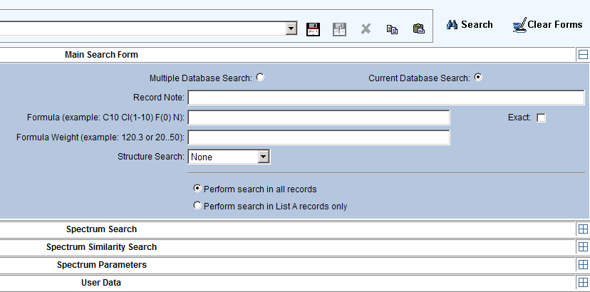 5. Searching the Database To search the database, switch from the Database tab that shows the default Database Home page to the Search Records tab in the menu at the top left of the page (Figure 16).
