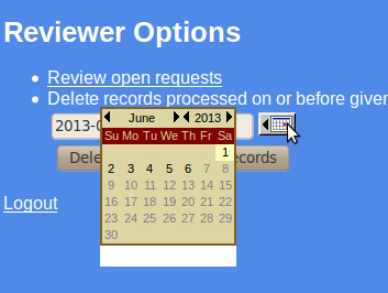 Reviewer deletes old records: The reviewer enters a date. Records processed on or before this date are deleted.