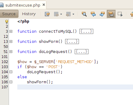 4. Create the submitexcuse.php script. This handles get requests by displaying a form.
