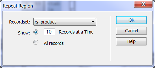 At this stage, this page only display a record only, to display all the records needs to define the repeating region. To define the repeating region, select the div which include table.