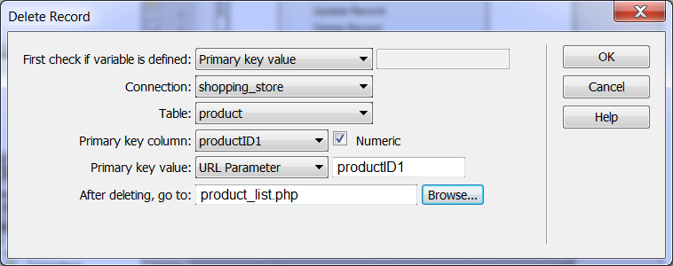 Delete a record Create a page called deleterecord.php, go to server behaviors, click on the + icon, choose Delete Record (Figure 30). Choose the product_list.