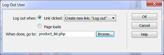 logout Go to a page that wants to create a logout link.