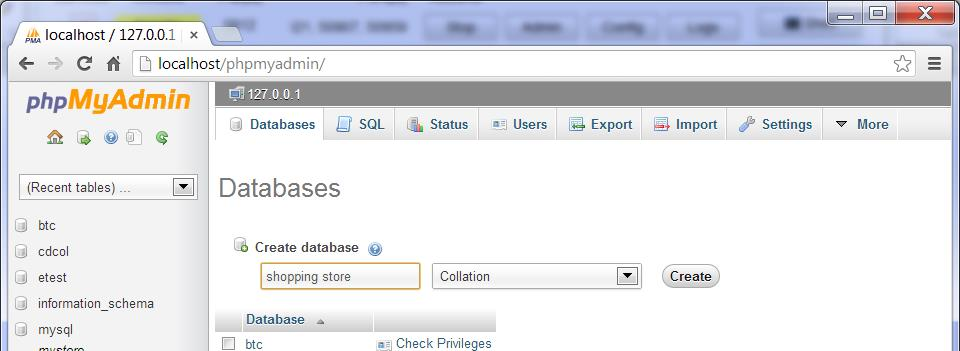 Creating a database Figure 5: Access phpmyadmin Figure 6: Create Database To create a database, start the XAMPP, click on the Admin button. A phpmyadmin page will pop up like the page in Figure 6.
