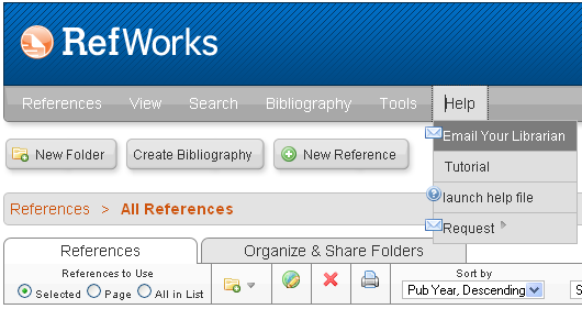 5. Navigating RefWorks Navigating RefWorks is easy! Everything can be accessed from the toolbar highlighted above. The toolbar is located at the top of every RefWorks webpage. 6.