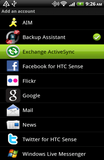 Setting up an ActiveSync Account Setting up an ActiveSync account that interfaces with the ZENworks Mobile Management server secures corporate information that is transmitted wirelessly to your