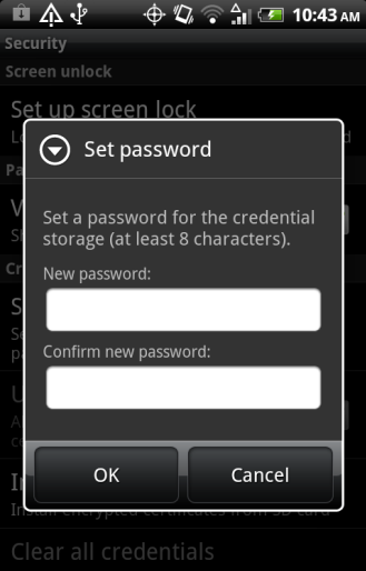 5. Create a credential storage password.