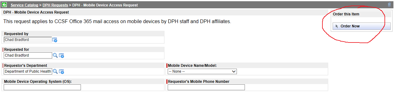 Mobile Device Name/Model Click the drop-down and select your mobile device from the list. The list shows the devices approved by the DPH Security Team.