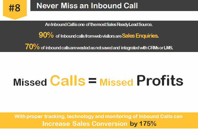 7. Never miss any Inbound call Information Track and save each data Most successful marketers and sales gurus realise the importance of an inbound call - they are the most sales-ready leads.