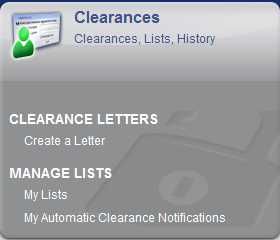 To set up Automatic Clearance Notifications, click on the My Notifications button or select My Automatic Clearance Notifications (ACN) from the menu at the top of the screen Note: To set up ACN, you