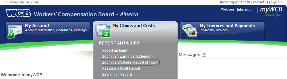 Creating a Worker s Report of Injury Prior to creating the Worker s Report, the Employer s Report (C040) must be successfully submitted. To create a Worker s Report: 1.