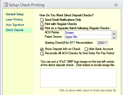 Print No Email Notices: This is used to print out paper copies of stubs for employees not choosing to receive email notification.