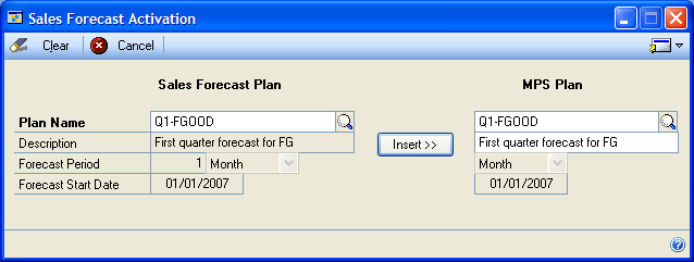 PART 1 SALES FORECASTING All sales forecasts with the same forecast period, starting date, and ending date as the template plan will appear in the Plans Matching Template scrolling window. 3.