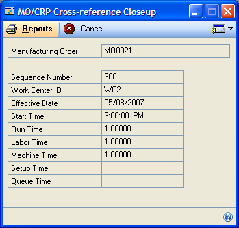 CHAPTER 6 VIEWING CRP DATA To view the effects of a manufacturing order: 1. Open the MO/CRP Cross-reference window. (Inquiry >> Manufacturing >>Manufacturing Orders >> MO/CRP Xref) 2.