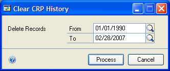 Chapter 7: CRP history Use the Clear CRP History window to delete capacity requirements planning (CRP) history records. You can delete records for one specific date or for a range of dates.